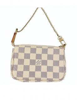 Louis Vuitton white damier Azur canvas pochette