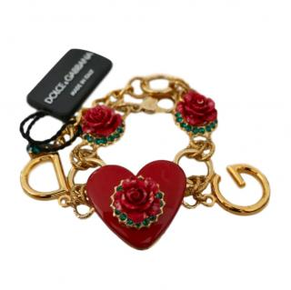 Dolce & Gabbana red & goldtone rose charm bracelet