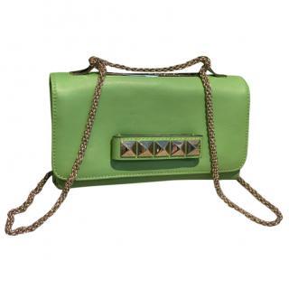 Valentino Va Va Voom green leather rockstud clutch bag