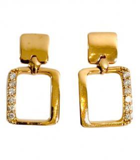Bespoke 18ct rose gold & diamond square earrings