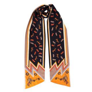 Hermes Kachinas Silk Maxi Twilly Cut