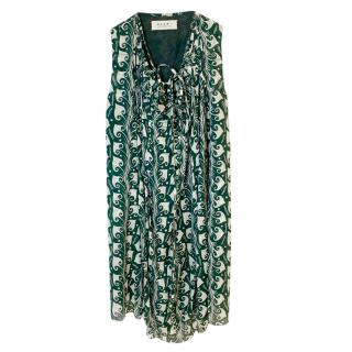 Marni green sleeveless abstract print knee-length dress