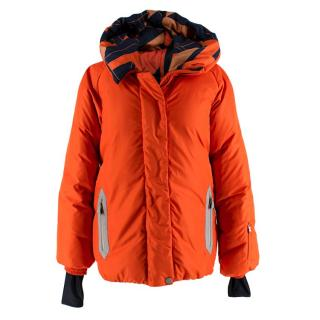 Hermes Oversize Hooded Orange Puffer Coat with Scarf Print Lining