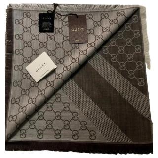Gucci Brown Monogram Supreme Wool & Silk Scarf