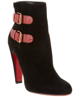 Christian Louboutin black Cavalitta 100 suede ankle boots
