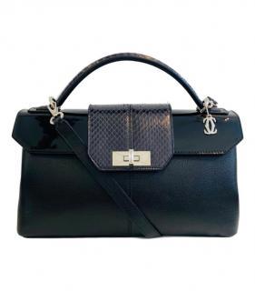 Cartier Fine Line black leather & python handle bag