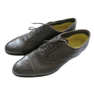 Silvano Lattanzi brown woven leather derby shoes