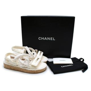 Chanel Ivory Lambskin Espadrille Rope Sandals