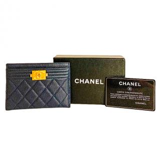 Chanel Boy navy caviar leather card holder