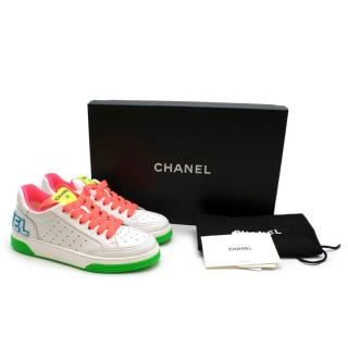 Chanel White Calfskin Neon Trimmed Sneakers