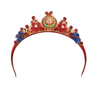 Dolce & Gabbana Red Crystal Floral Embellished Sicily Headband