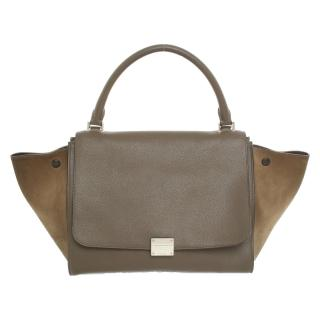 Celine Trapeze grey medium leather handle bag