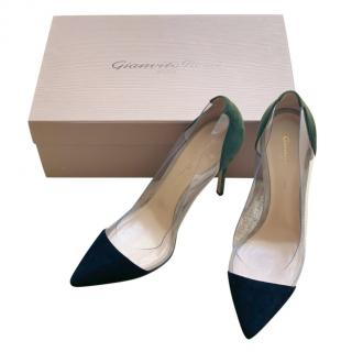 Gianvito Rossi Two-Tone Plexi 105 PVC & suede pumps