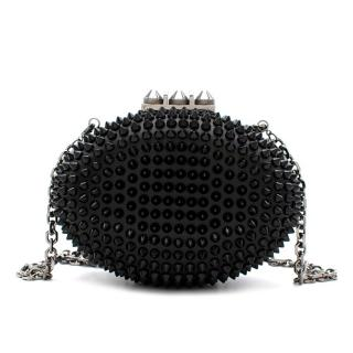 Christian Louboutin Womens Black Mina Spiked Oval Clutch