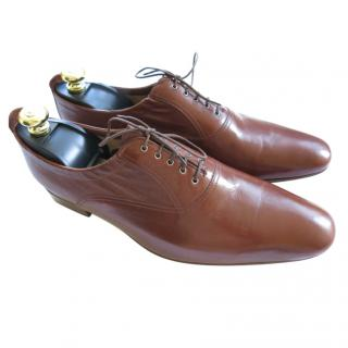 Hermes brown kangaroo leather derby shoes
