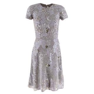 Naeem Khan Silk Embellished Skater Dress