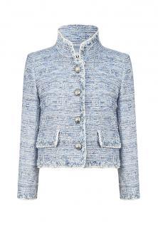Chanel blue tweed eyelash high-neck jacket