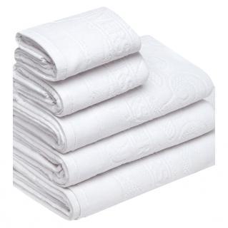 Versace Borocco Motif white five-piece set of bath towels