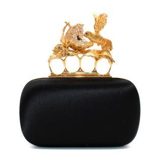 Alexander McQueen Black Satin Crystal Embellished Bird Knuckle clutch