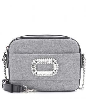 ROGER VIVIER GRAY FELT FABRIC BLACK LEATHER PHOTOCALL CAMERA BAG CRYSTAL BUCKLE