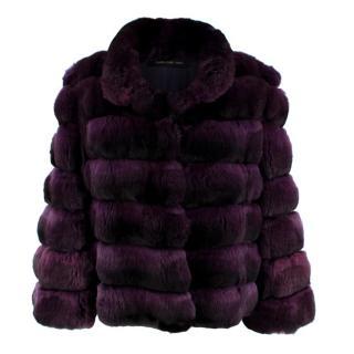 Carmen Marc Valvo Couture Purple Chinchilla Fur Jacket