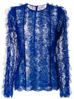 Givenchy Blue Textured Lace Sheer Top