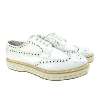 Church's white patent leather espadrille derbies