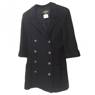 Chanel navy cotton double-breasted jacket