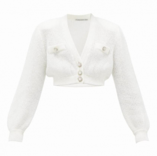 Alessandra Rich white crystal button knit cardigan