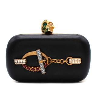 Alexander McQueen Black leather crystal embellished Skull Clutch