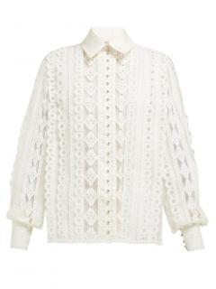 Zimmermann Moncur scalloped cotton ivory blouse