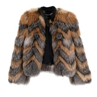 Tom Ford Red & Grey Fox Fur Leather Trimmed Jacket