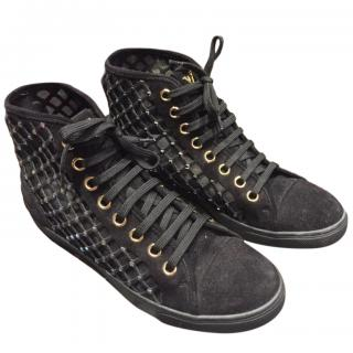 Louis Vuitton Black Mesh Embellished High Top Sneakers