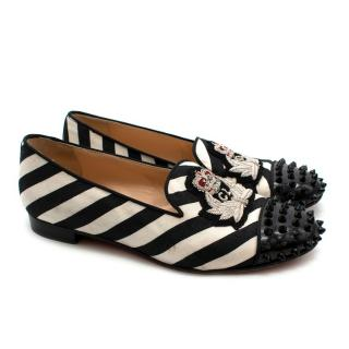 Christian Louboutin Spiked Striped Flats With Embroidered Badge