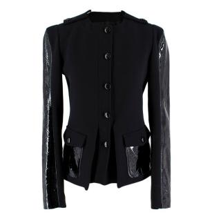 Tom Ford Patent Leather-Paneled Stretch-Wool Jacket