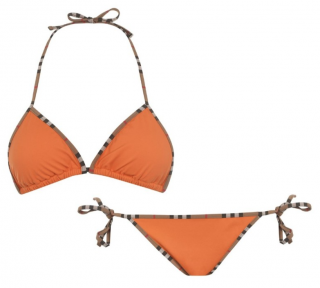 Burberry Orange Cobb Bikini with Vintage Check Trim