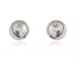 Bespoke 18ct White Gold Diamond, Ruby and Sapphire earrings
