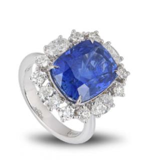 Bespoke White Gold Blue Sapphire Ring