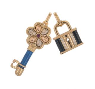 Bespoke Yellow Gold Lock and Key Pendant