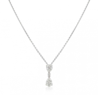 Bespoke White Gold Diamond Drop Pendant Necklace