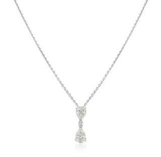 Bespoke White Gold Diamond Drop Pendant Necklace
