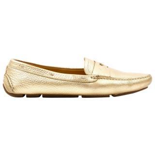 Prada metallic gold leather loafers