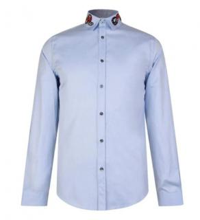 Gucci Blue Duke Shirt with Snake Embroidered Collar