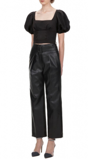 Self- Portrait Faux Leather High Waisted Trousers