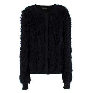Tom Ford Black SIlk Blend Fringed Cardigan