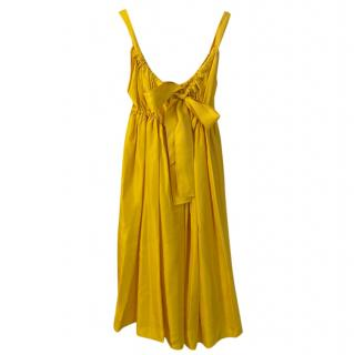 Dolce & Gabbana Yellow Pleated Sleeveless Dress