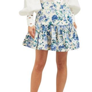 Zimmermann Moncur Flounce blue floral mini skirt