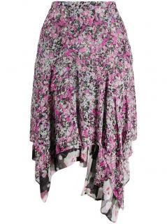 Isabel Marant Pink Myles Silk Printed Skirt