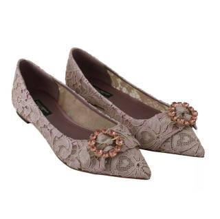 Dolce & Gabbana Lace Crystal Embellished Ballerina Flats
