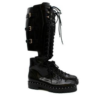 Valentino Garavani Soul Rockstud Black Combat Boots
